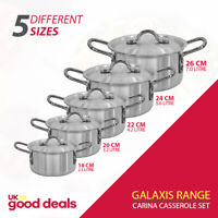 5pc Large Oven and Hob Catering Cooking Pan Casserole Stockpot Set Aluminium