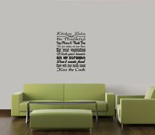 KITCHEN RULES COLLAGE VINYL WALL DECAL SUBWAY ART WALL QUOTE STICKERS LETTERS