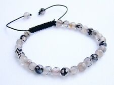 Delicate Natural Gemstone Men's Shamballa bracelet 6mm DRAGON VEINS AGATE beads