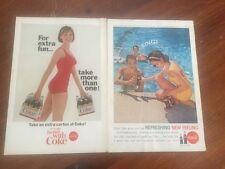 two 1965 vintage Coca Cola coke original advertisement posters