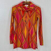 Jude Connally Geometric Mod Print Pink/Orange Tunic Top SZ XS Made in USA