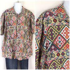 Orvis Aztec Print Southwest Block Print Short Sleeve Shirt Button Front XXL