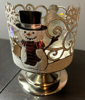 Bath And Body Works Snow Buddies Glitter Pedestal 3 Wick Candle Holder