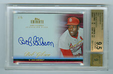 Bob Gibson 2012 Topps Tribute Autographs Red On Card Auto #1/5 BGS 9.5 GEM MINT