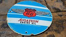 OLD VINTAGE PHILLIPS 66 AVIATION  ENGINE OIL PORCELAIN GAS SIGN GASOLINE