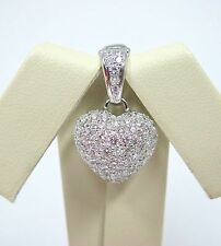 .96 cttw DIAMONDS 18k White Gold Pave Diamond Puffy Heart Pendant