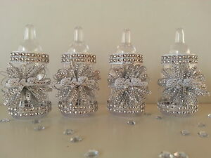 12 Silver Fillable Bottles | Baby Shower Decorations | Favors Prizes Games Girl