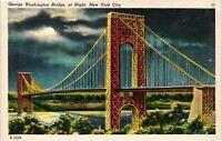 Vintage Postcard - George Washington Bridge At Night New York City NY #4788