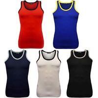 Mens Contrast Neck Cotton Summer Tank Top Gym Training Beach Wear Holiday Vest