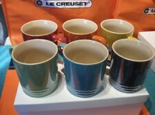 Le Creuset Set Of 6 New 12 Oz Mugs Pearlized Metallic Cups Assorted Colors Nib