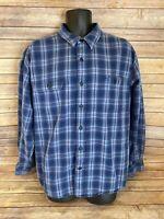 Eddie Bauer Long Sleeve Flannel Shirt Size XL Mens Blue Plaid Casual Button Down