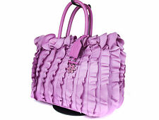 PRADA Tessuto Ruffle Leather Pink Tote Bag PT0090