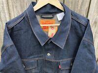 Men's Levi's Trucker Denim Jean Jacket Raw Unwashed Rigid Indigo Blue Size 5XL