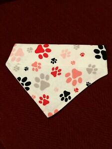 Over Collar Slide On Pet Dog Cat Bandana Scarf  RED & PINK PAW PRINTS  SMALL