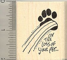 Pet Loss Sympathy rubber stamp E9414 WM dog cat paw