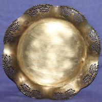 Vintage ornate brass floral footed bowl