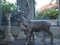 Hirsch Hirschfigur Hirschgeweih Deko Figur antik silber 30 cm