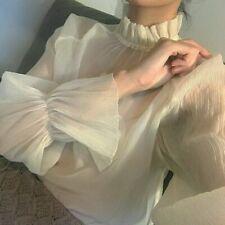 Women Ruffle Puff Sleeve Shirts Chiffon Tops Blouse Lolita T-shirts Frill