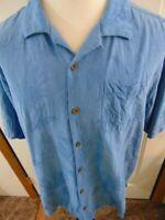 Tommy Bahama Mens XL Floral Beach Camp Hawaiian Blue 100% Silk Shirt