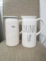 "RAE DUNN ""YOU CHOOSE"" IVORY BEVERAGE PITCHER LOT"