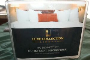 Luxe Collection linens bed sheet Set, King Size Bed Sheets. 4 Pieces White