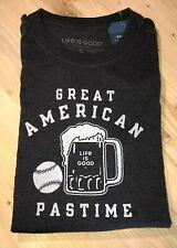 Life Is Good Baseball & Beer Great American Pastime Crusher Tee t-shirt Nwt Xxxl