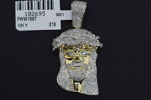 10k Solid Yellow Gold Hip Hop SI Diamond 1.25 CT Jesus Head Pendant Charm