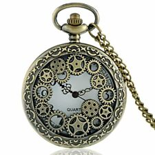 Gear Quartz Pendant Necklace Chain Vintage Bronze Pocket Watch Antique Steampunk