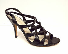 DELMAN Size 8 Black Leather Strappy Slingback Sandals Heels Shoes