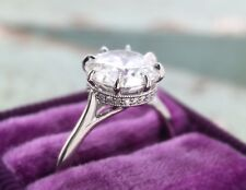 3.60Ct Off White Moissanite Solitaire Halo Engagement Ring 925 Sterling Silver 1