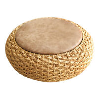 Rattan Knitted Round Pouf Ottoman Stool Leather Seat Pad Floor Yoga Meditation