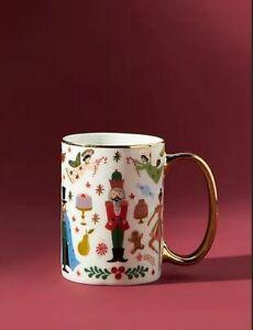 Anthropologie Rifle Paper Co Nutcracker Christmas Mug Porcelain Gold Handle NWT