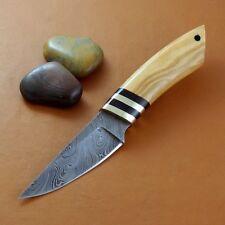 Couteau Damas Skinner Lame Acier 256 Couches Manche Bois/Corne Etui Cuir DM1098