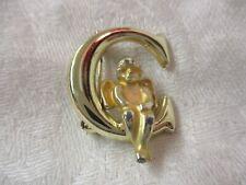 Vintage gold tone Brooch Pin Cherub sitting on 'C' letter