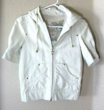 Big Chill Vintage Womens White XS Jacket Coat Hooded Faux Leather