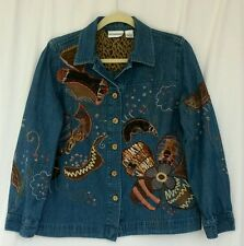 Breckenridge Women's Cotton Denim jacket appliqué animal print embroidery Medium