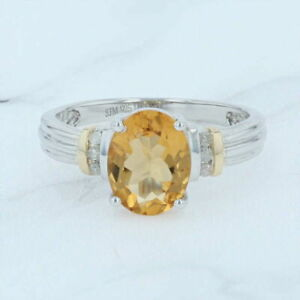 New 1.73ctw Citrine & Diamond Ring Sterling Silver 14k Gold Various Sizes