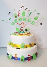 Reptile, lizard, snake, insect, birthday cake topper AND  loose decoration set