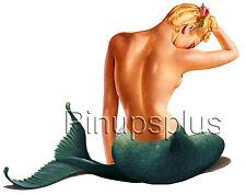 Vintage Mermaid Pinup Girl Waterslide Decal Sticker for Guitars & more S253