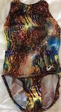 GK ELITE Sparkle Rainbow TIGER LEOPARD LEOTARD Gem BLING GLITTER FOIL CL L Girls