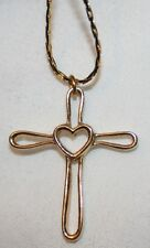 Dainty Open Looped Heart Center Goldtone Cross Pendant Necklace