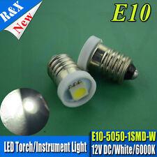 4x 12V E10 SMD 5050 1 LED 6000K White Bulb MES Screw Torch Headlamps/Light 30LM