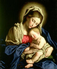 """Hand painted Oil painting Madonna with child Christ Jesus on canvas 24""""x36"""""""