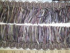 "9 yards Elegant RIBBON SKIRT FRINGE 3"" PURPLES/GREY Decorative Fabric Trim W4505"