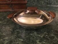 VINTAGE DANISH STAINLESS STEEL TEAK HANDLE LIDDED BOWL SERVING DISH MID CENTURY