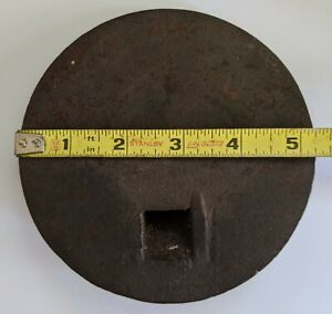 VINTAGE 20th Palm 5-1/4 INCH CAST IRON WOOD BURNING STOVE TOP LID COVER USA