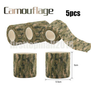 5pcs Camouflage Stealth Tape Wrap Camping Self Adhesive Bandage Hunting Camo