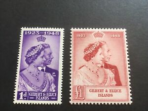 GILBERT & ELLICE ISLANDS  - 1948 Royal Silver Wedding - SG Nos 57/8 - LMM