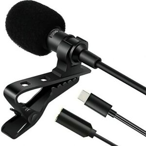 Clip-on Lapel Type-C USB C Mic Lavalier Microphone Recording Condenser For Phone