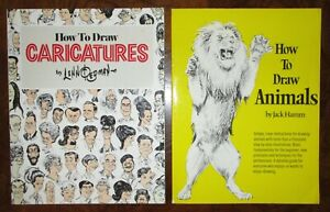 How To Draw Animals and Caricatures Books Art Instruction Book Set Lenn Redman